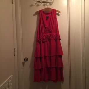 New Directions size 22 red 3 tier ruffled dress